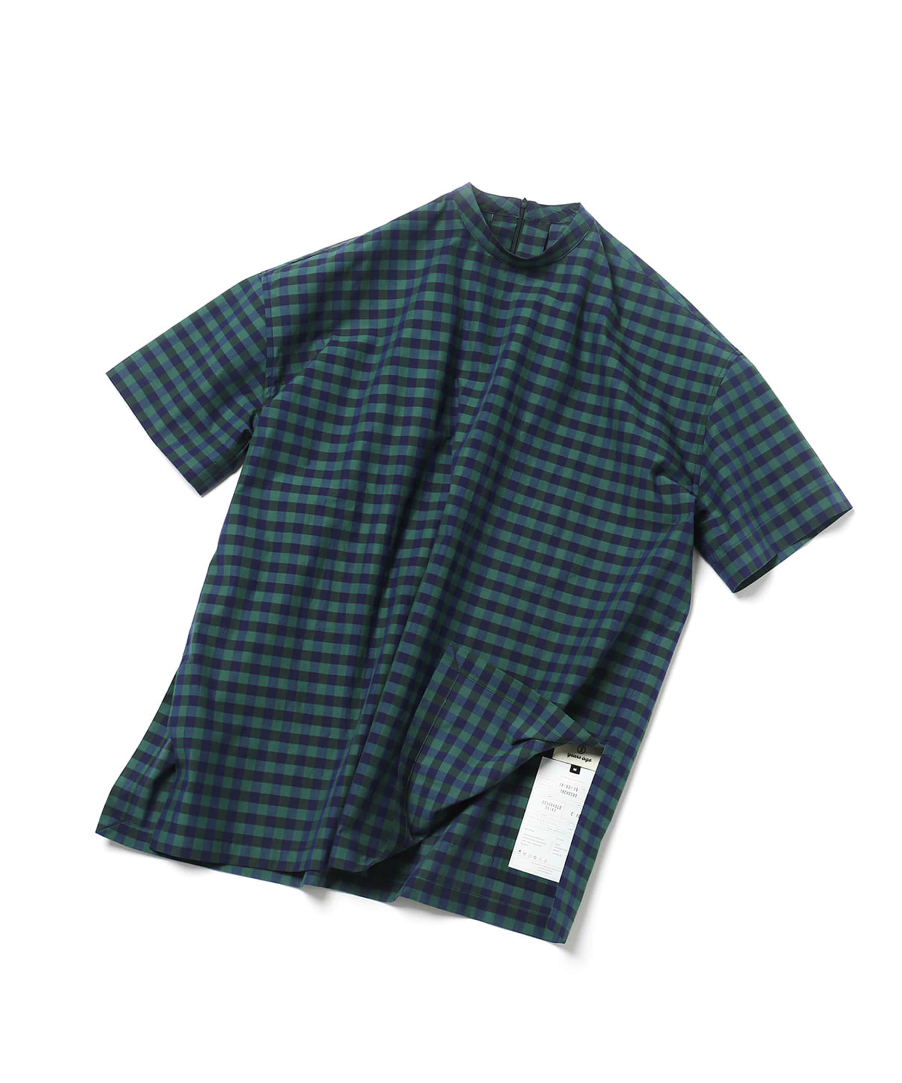 GREEN BLOCK CHECK COVERABLE TUNIC SHIRTS