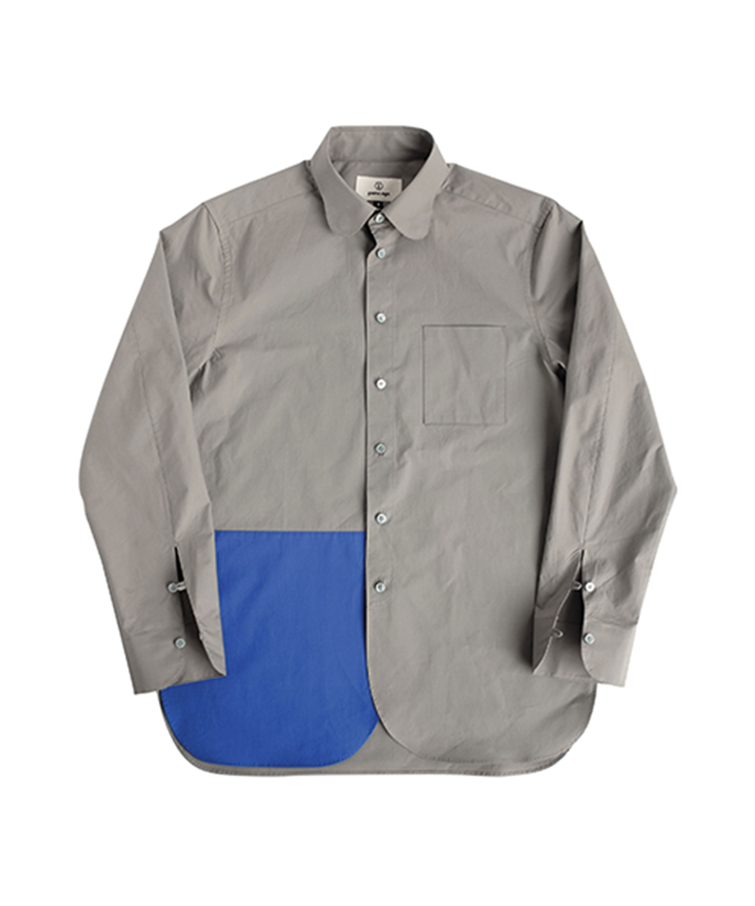 CEMENT GREY&BLUE BUTTERFLY COLLAR SHIRT