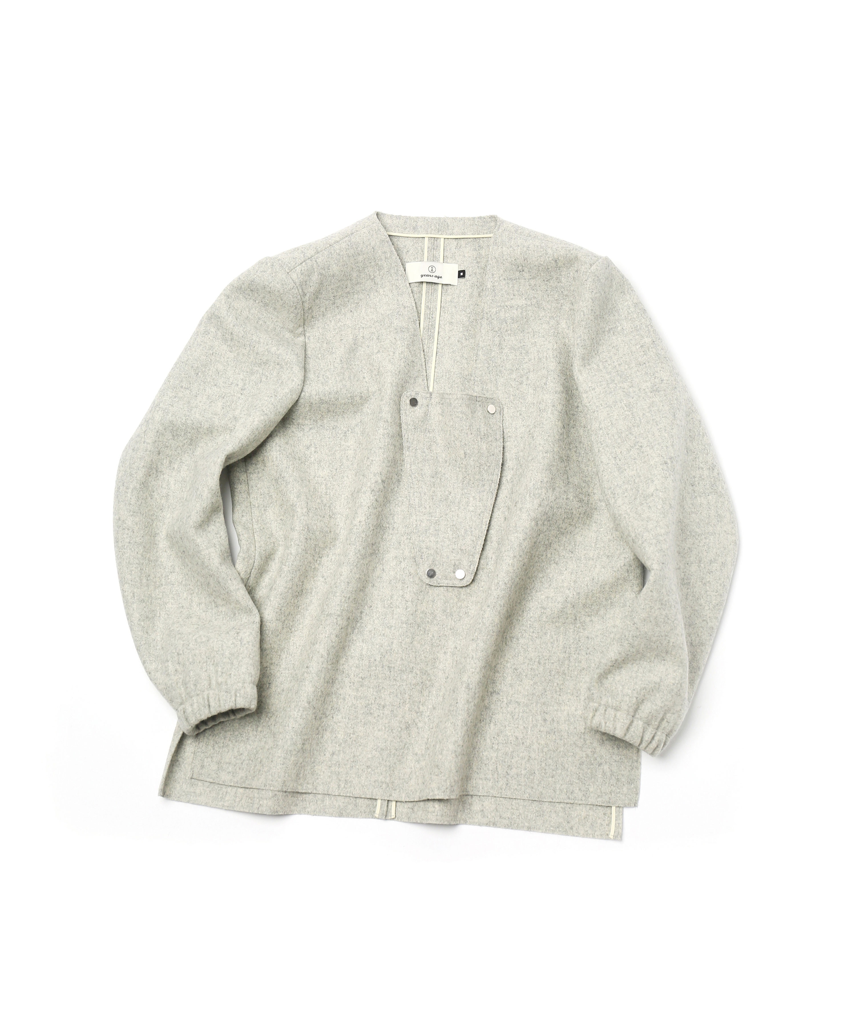 PALE GREY DETACHABLE V NECK PULL OVER