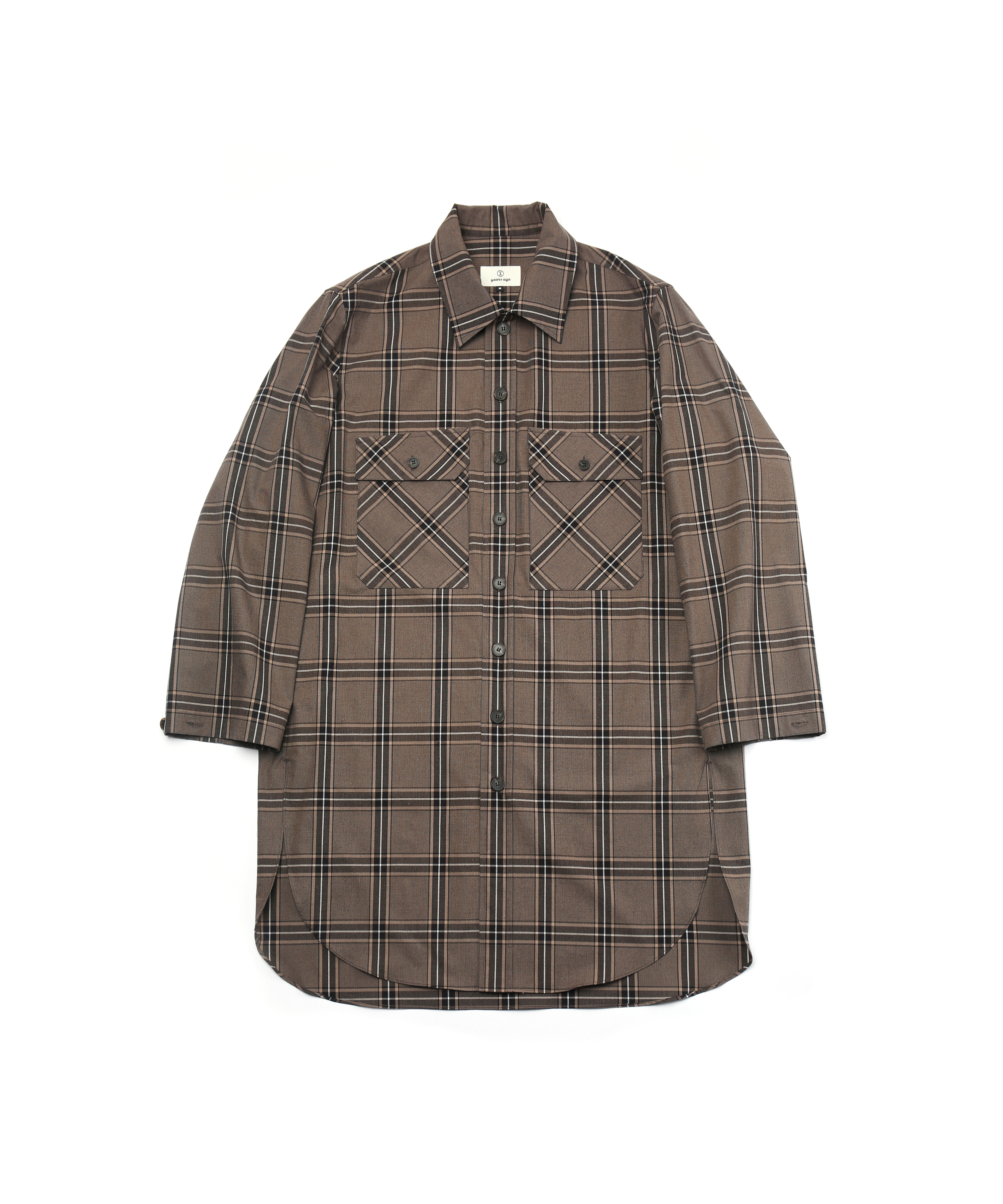 BROWN CHECK OVERSIZED LONG SHIRTS JACKET