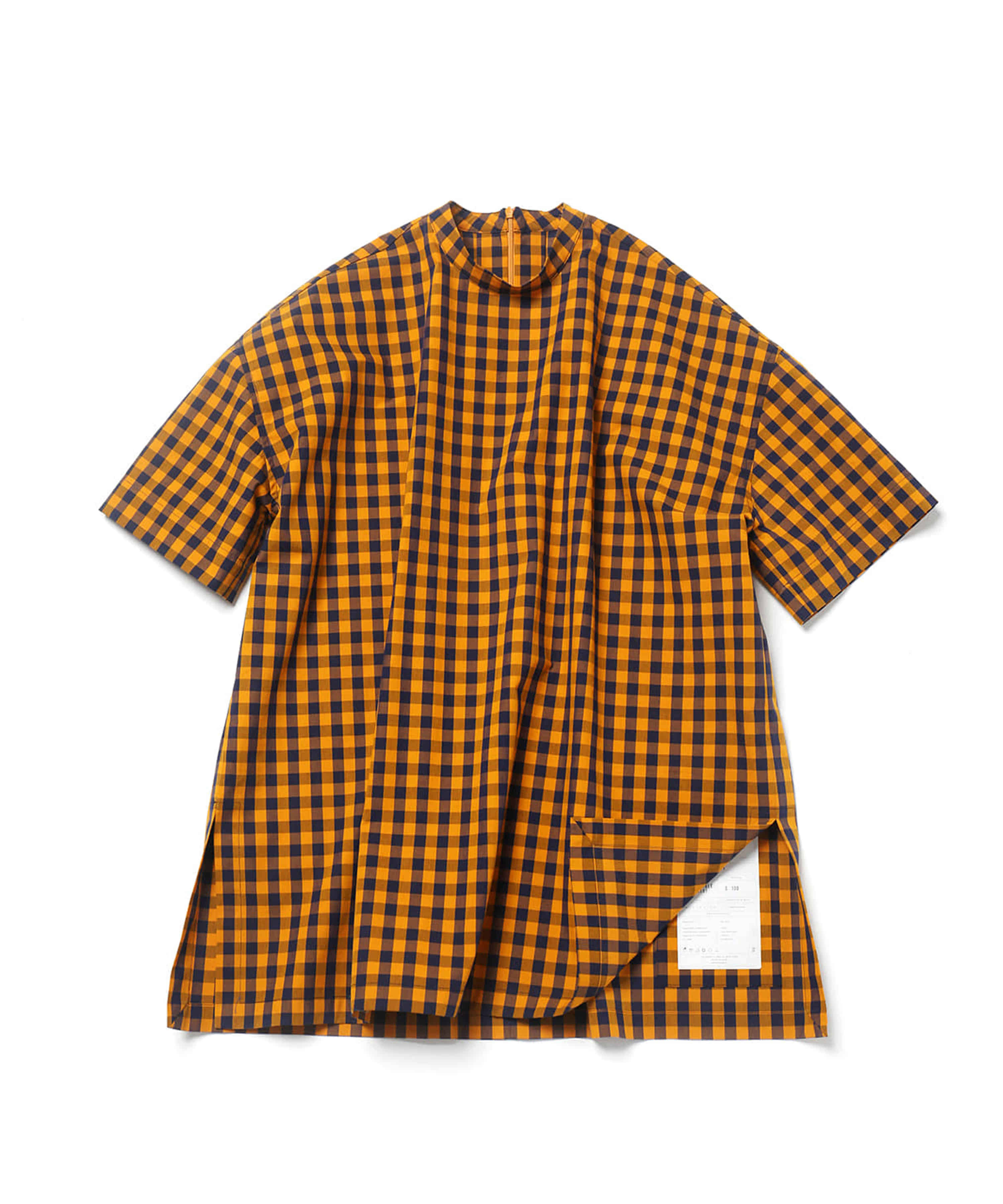 YELLOW BLOCK CHECK COVERABLE TUNIC SHIRTS