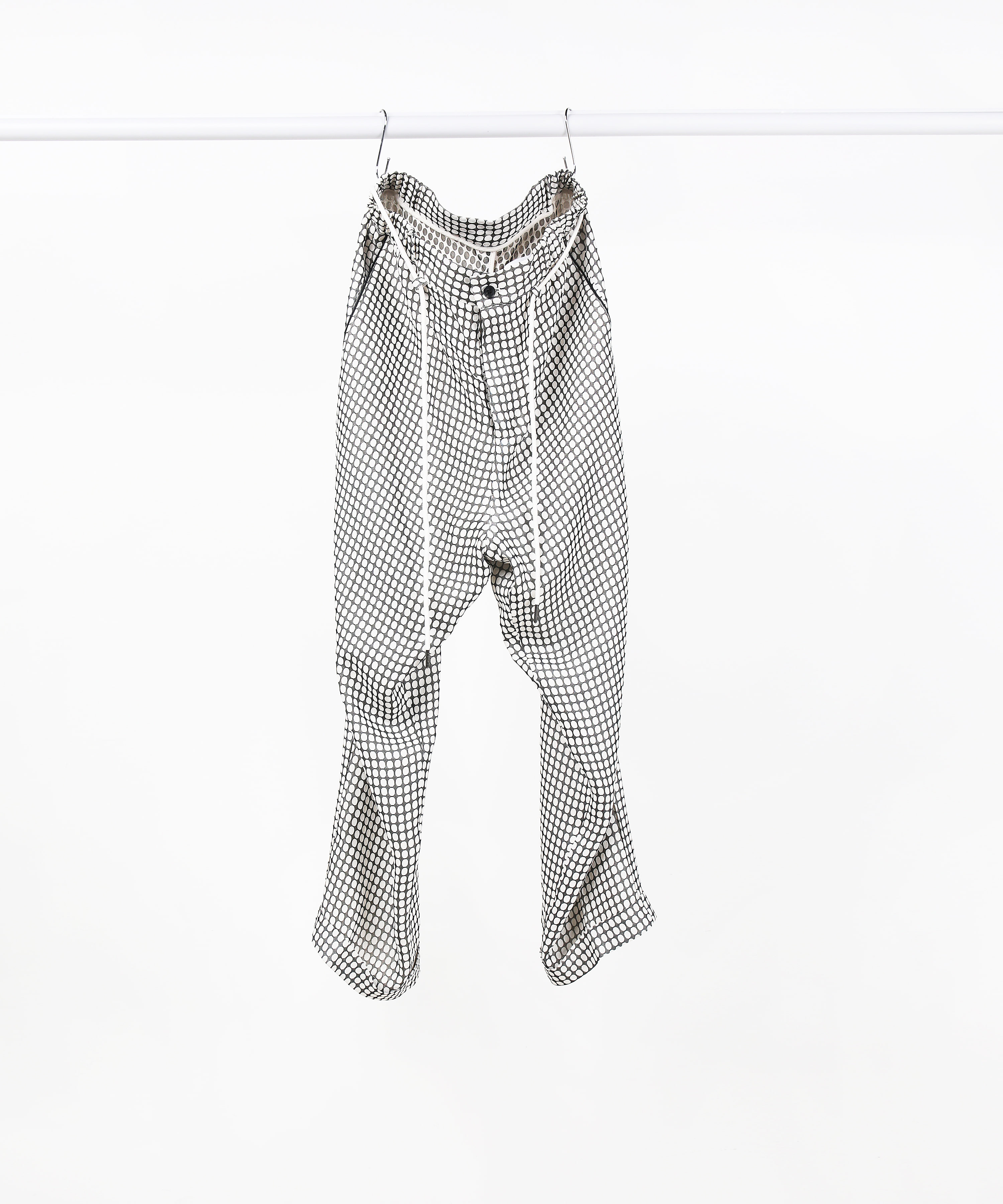 [DISTANCE] BLACK DOTTED JACQUARD STRING PANTS