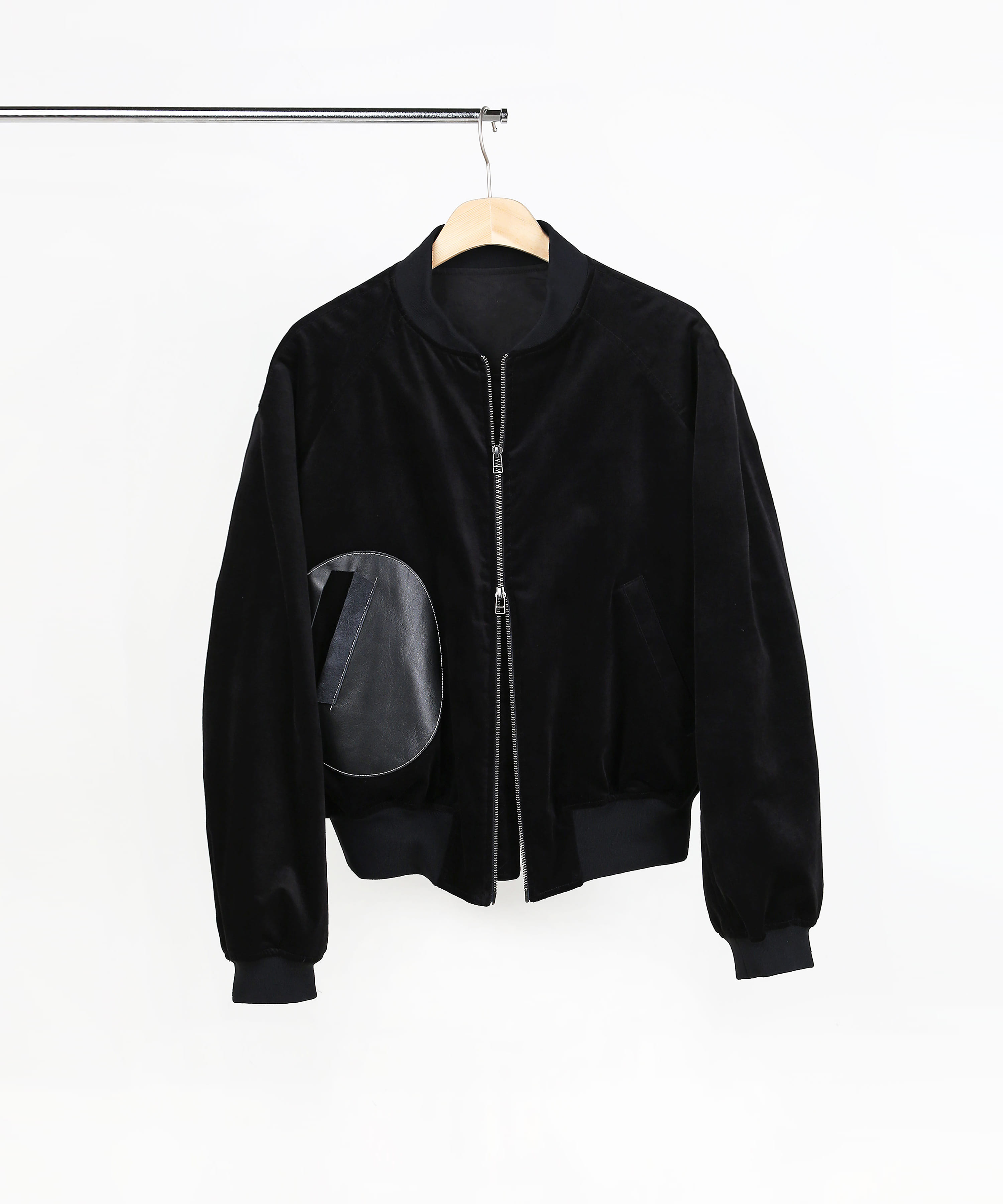 LEATHER PATCH BOMBER BLOUSON BLACK