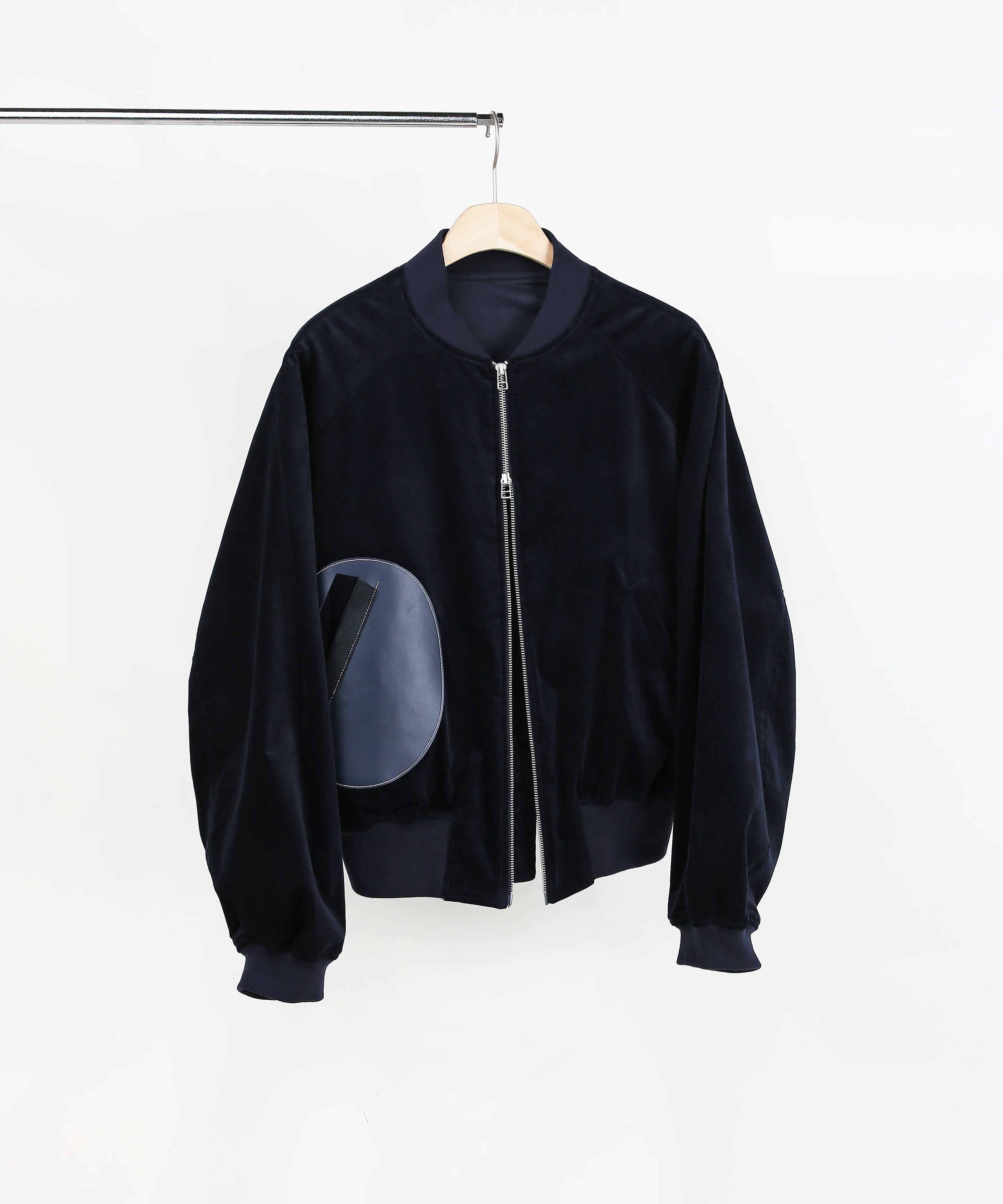 LEATHER PATCH BOMBER BLOUSON DARK NAVY