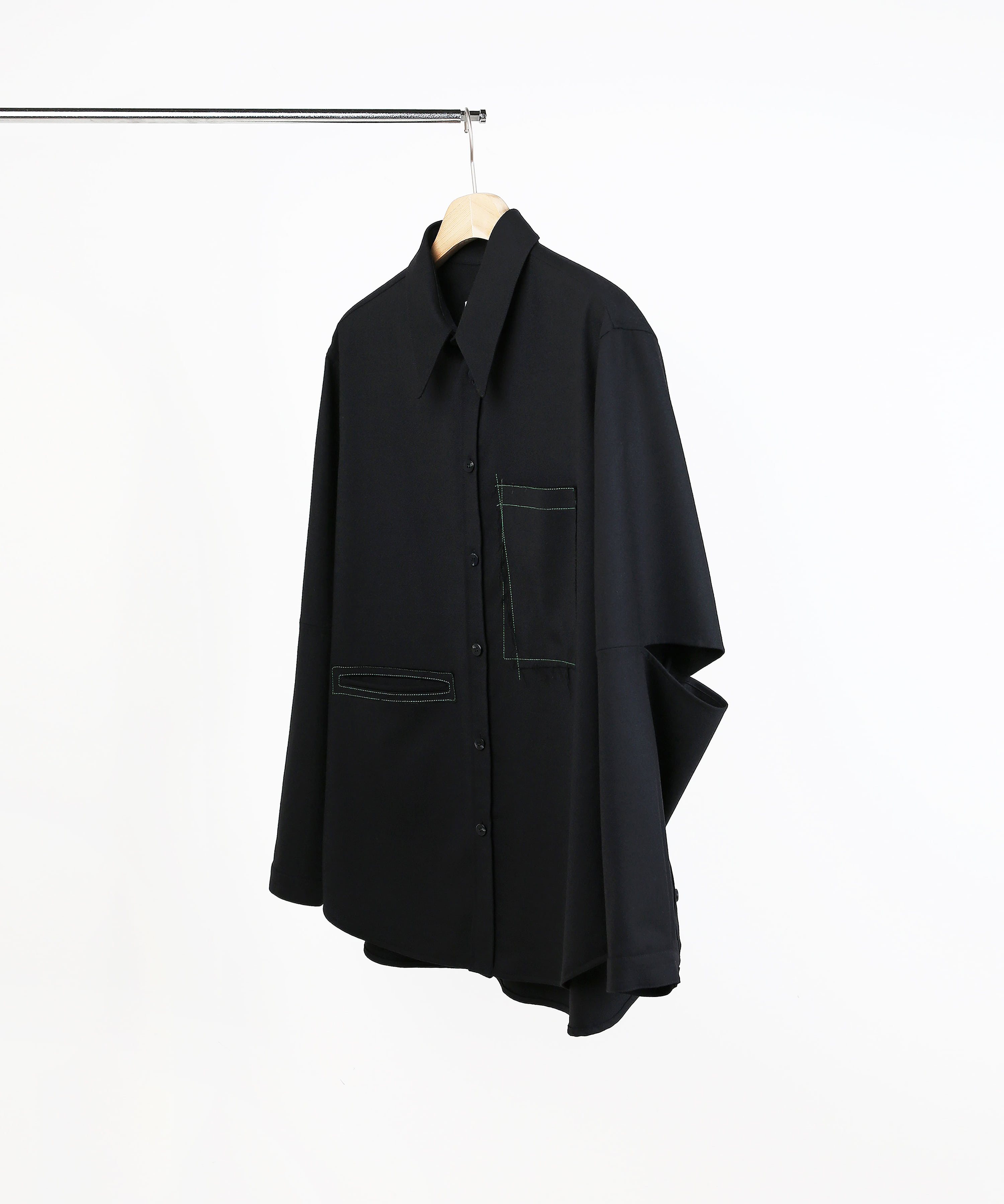 ELBOW CUT WOOL SHIRTS BLACK