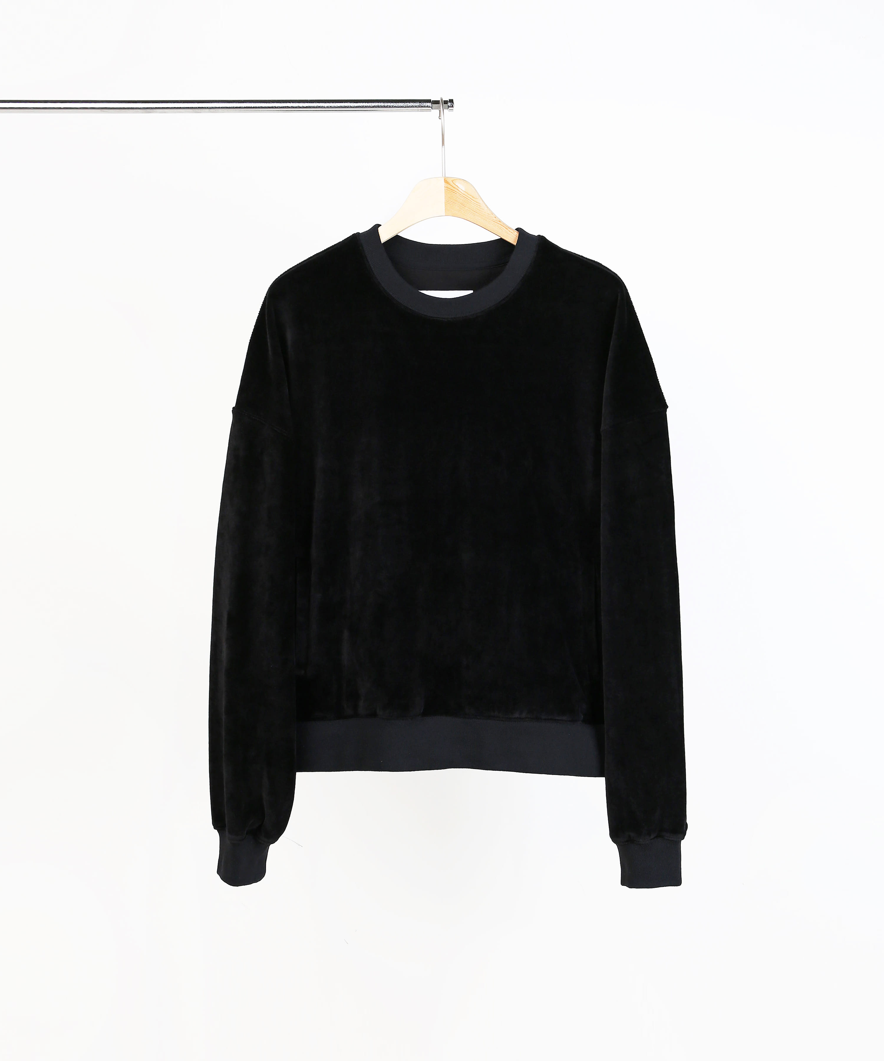 VELVET SWEAT SHIRTS BLACK