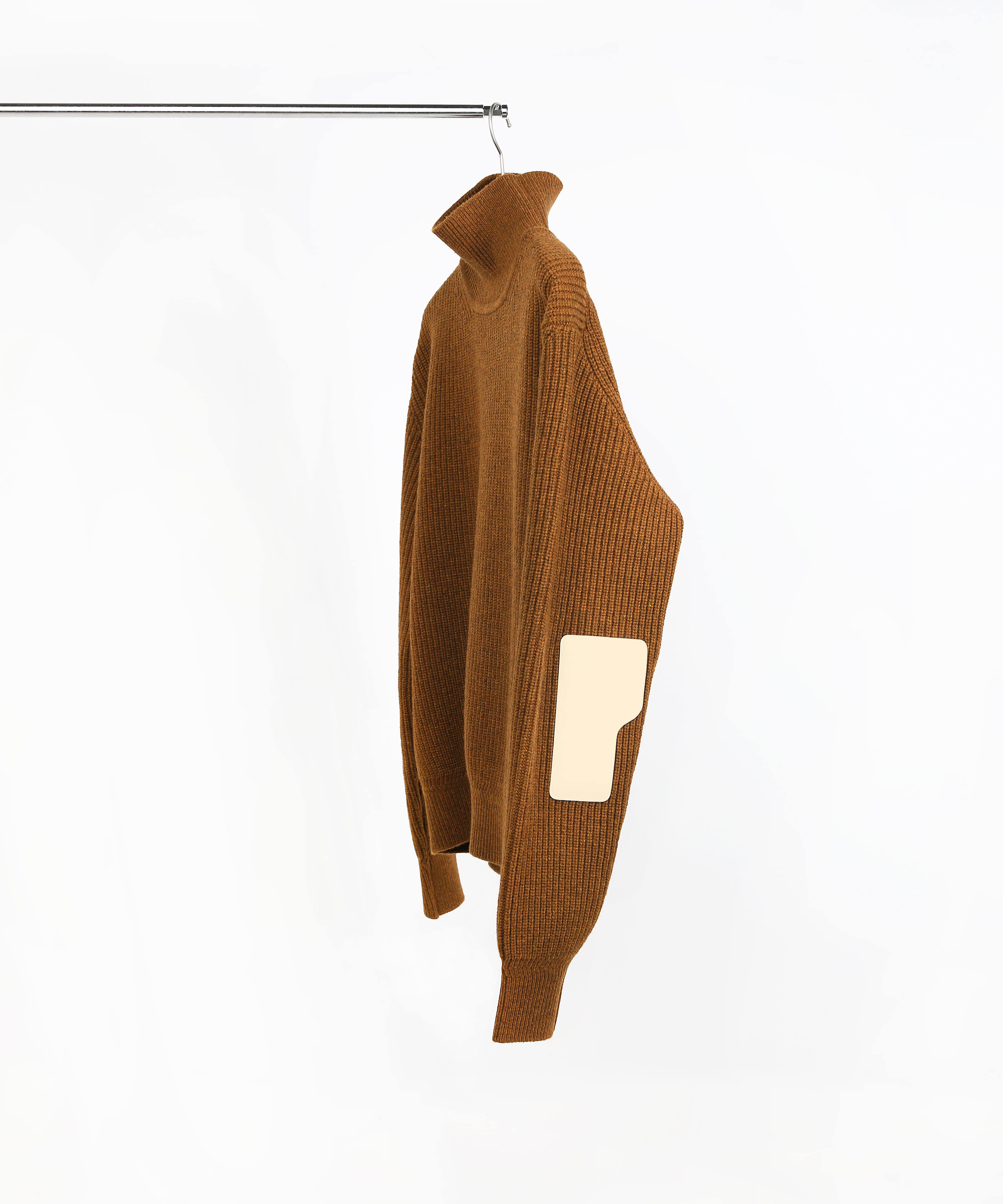 SIENNA MELANGE BROWN ROVER WOOL KNIT TURTLENECK