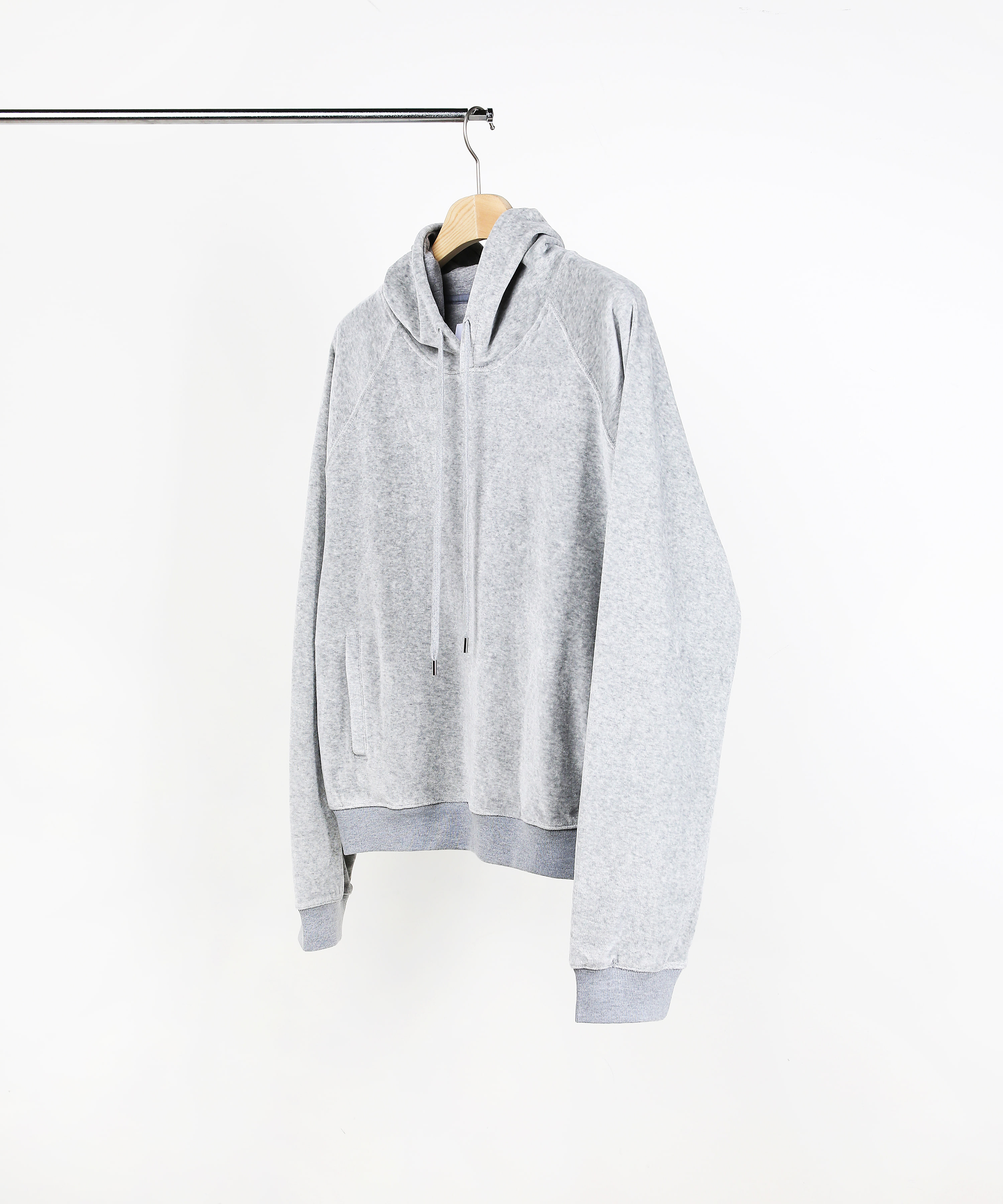 VELVET HOOD SWEAT SHIRTS MELANGE GREY