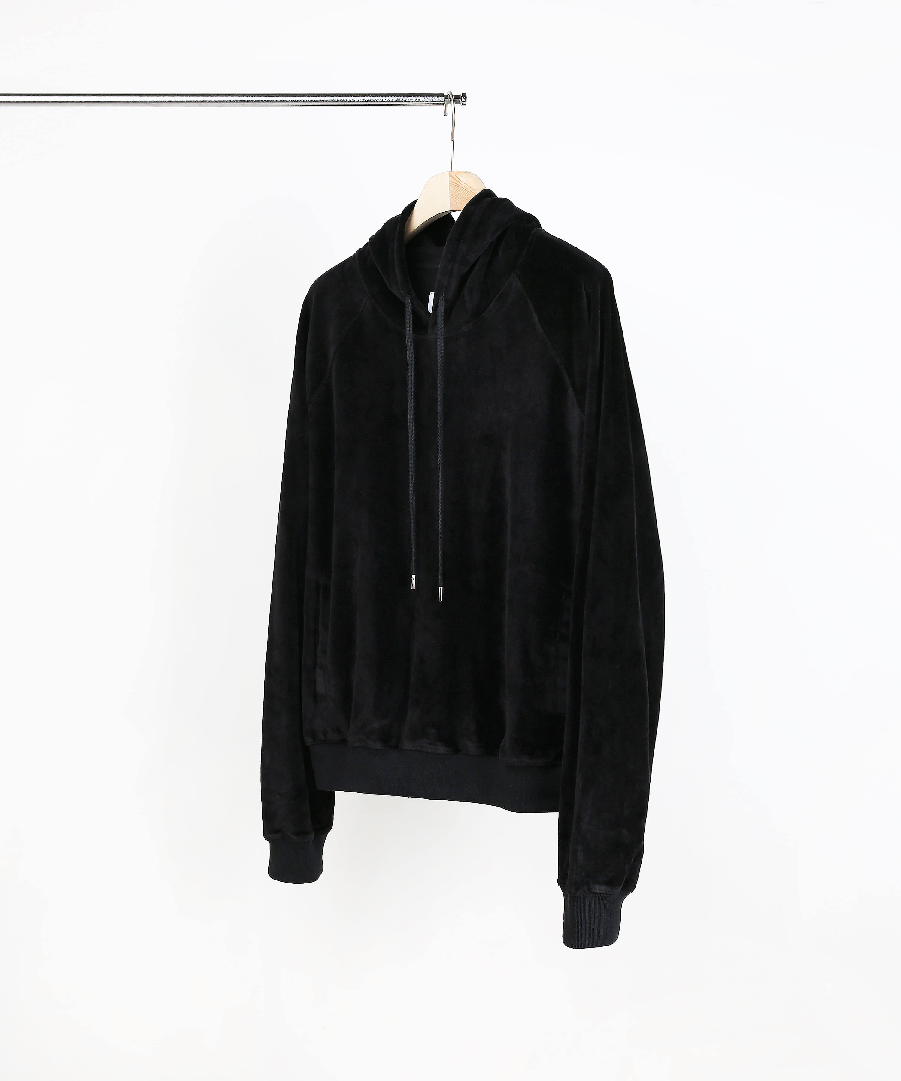 VELVET HOOD SWEAT SHIRTS BLACK