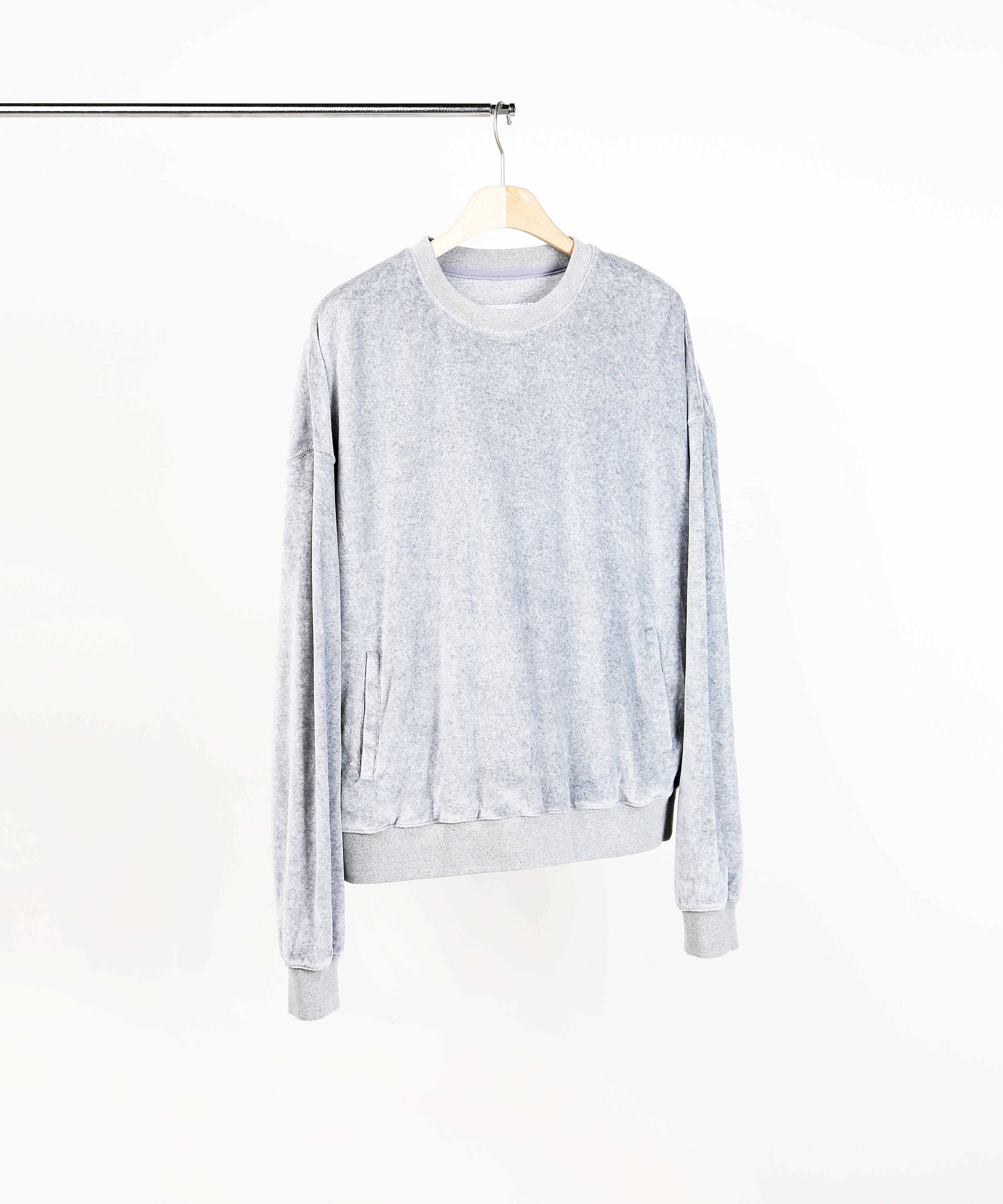 VELVET SWEAT SHIRTS MELANGE GREY