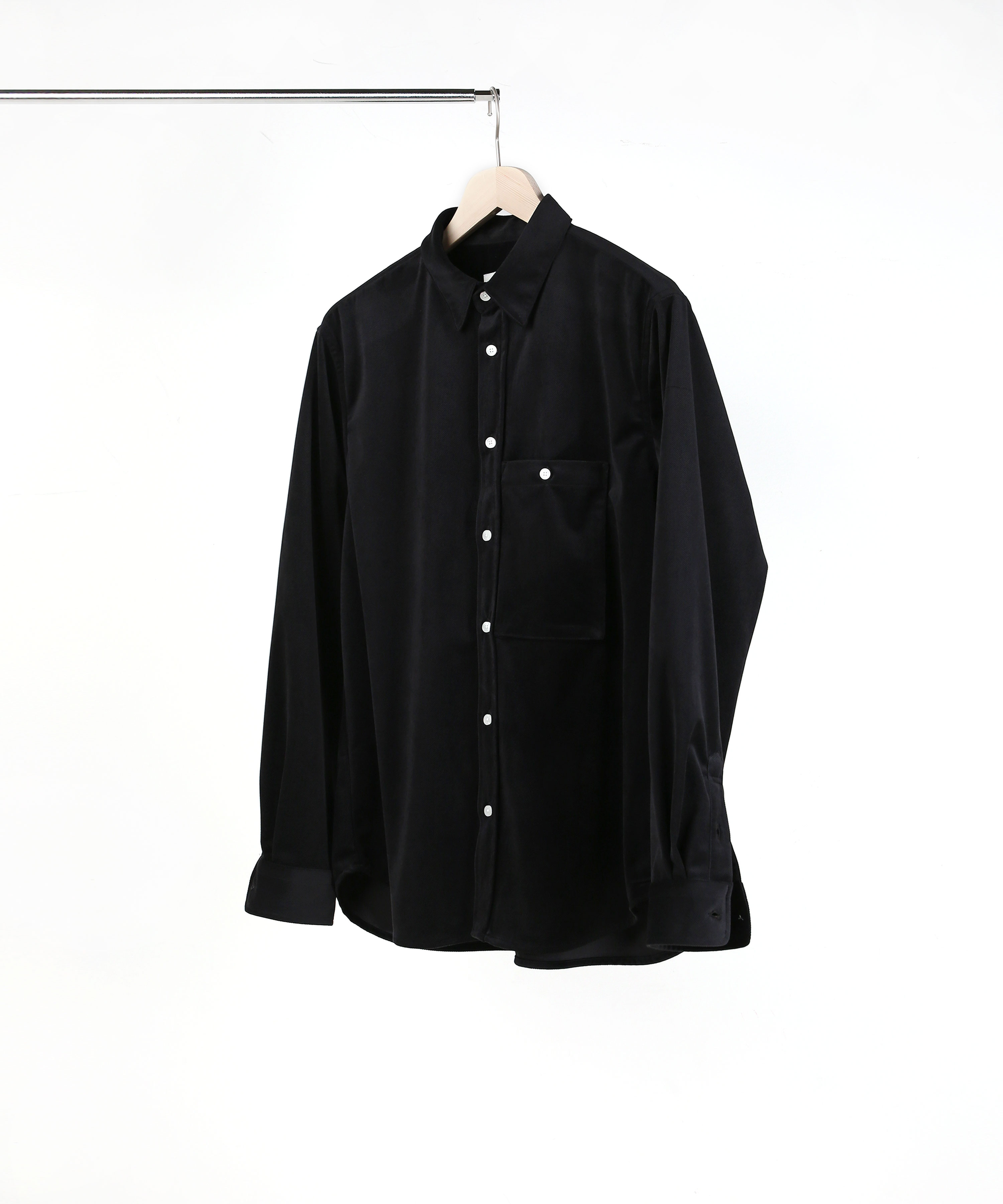 BLACK MICRO VELVET TWILL SHIRTS