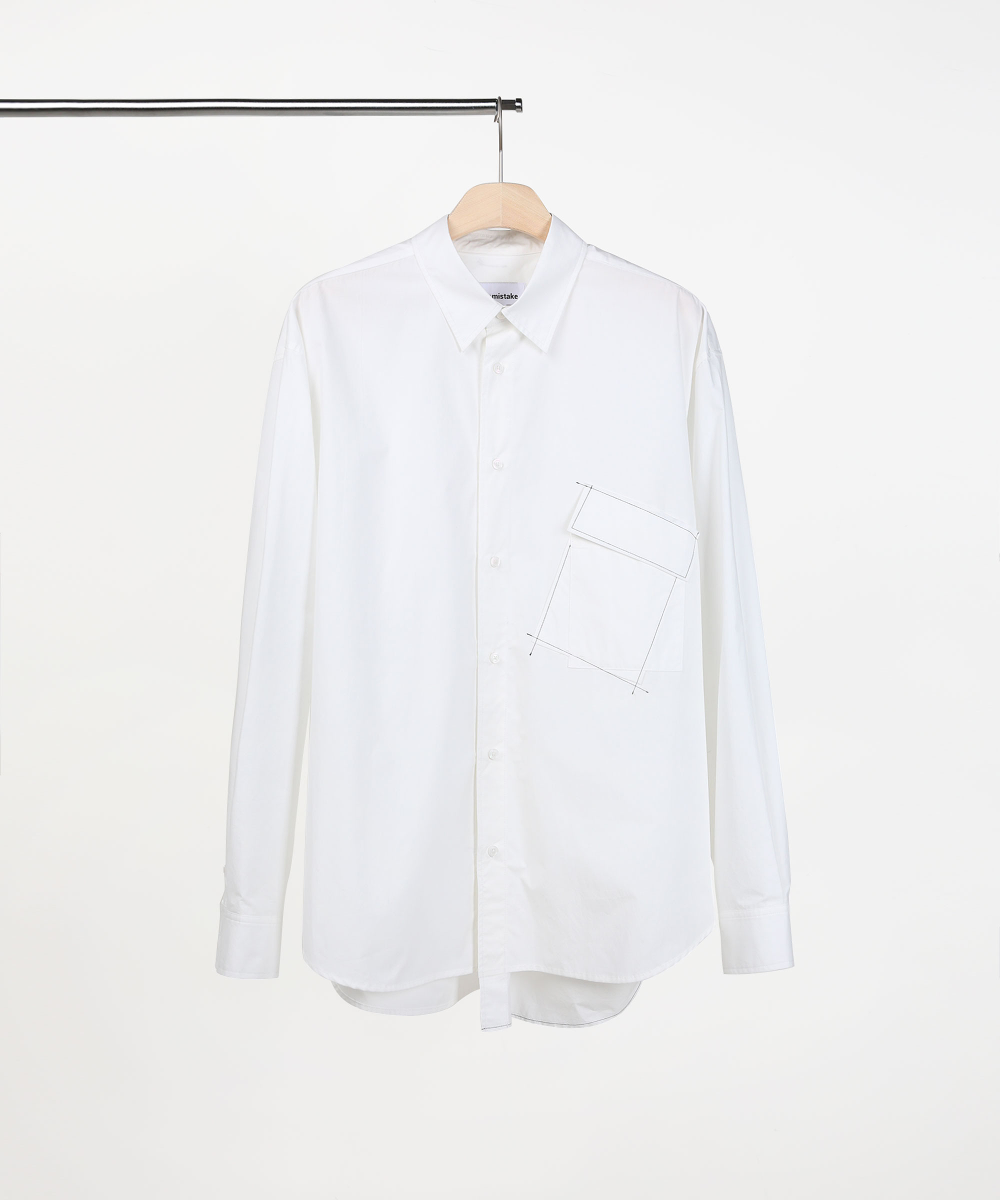 ASYMMETRIC POCKET SHIRTS WHITE