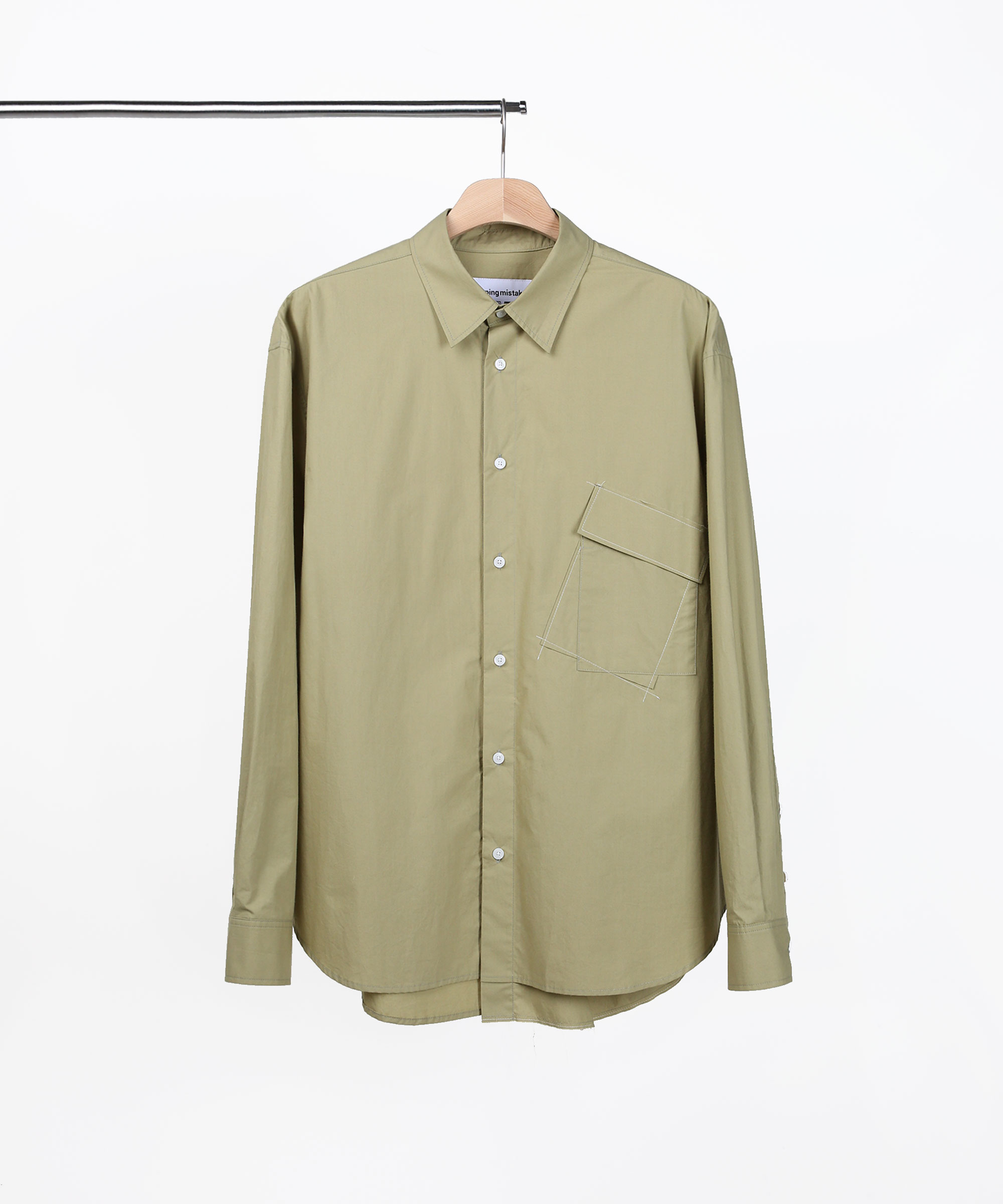 ASYMMETRIC POCKET SHIRTS OLIVE