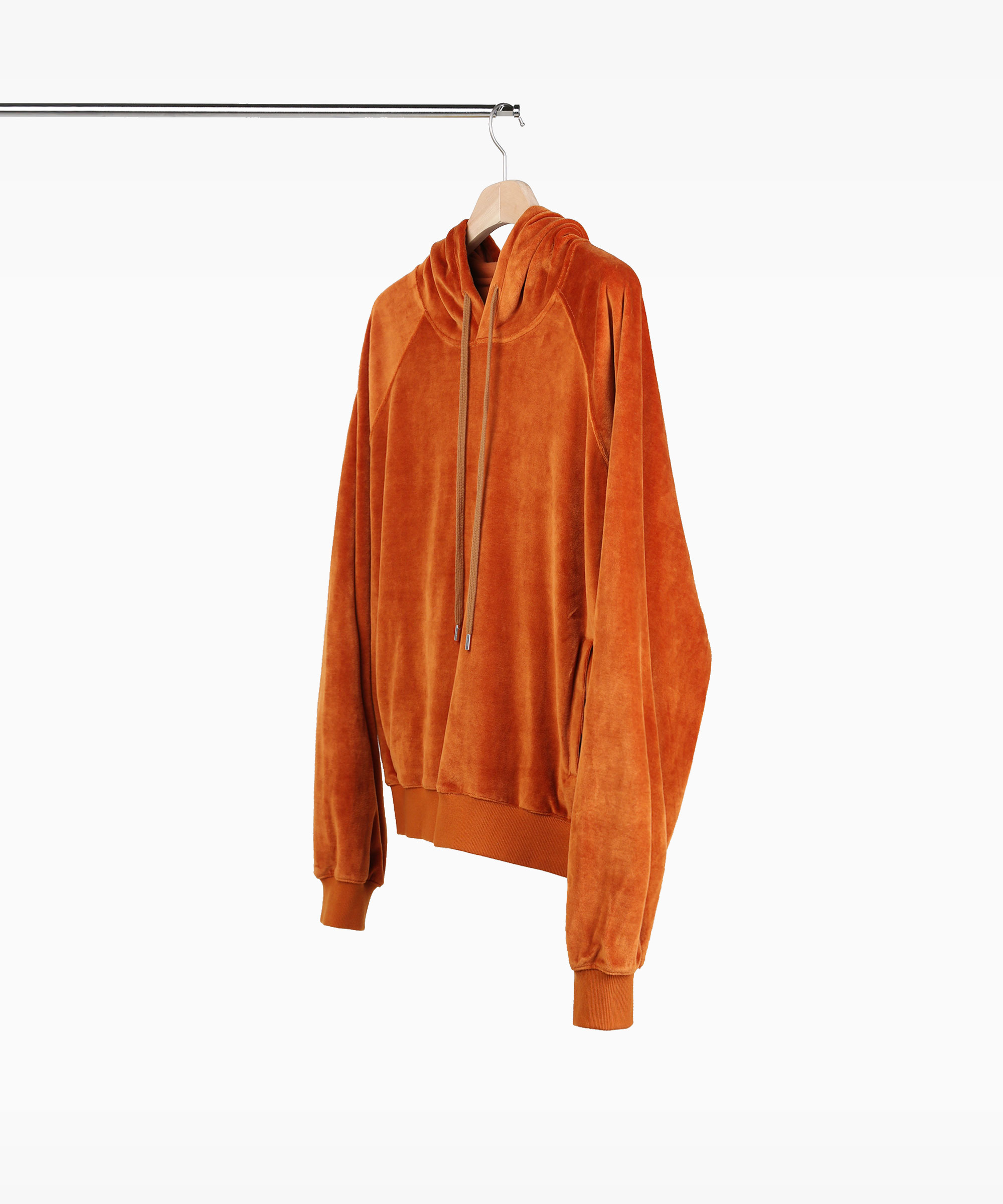 VELVET HOOD SWEAT SHIRTS ORANGE