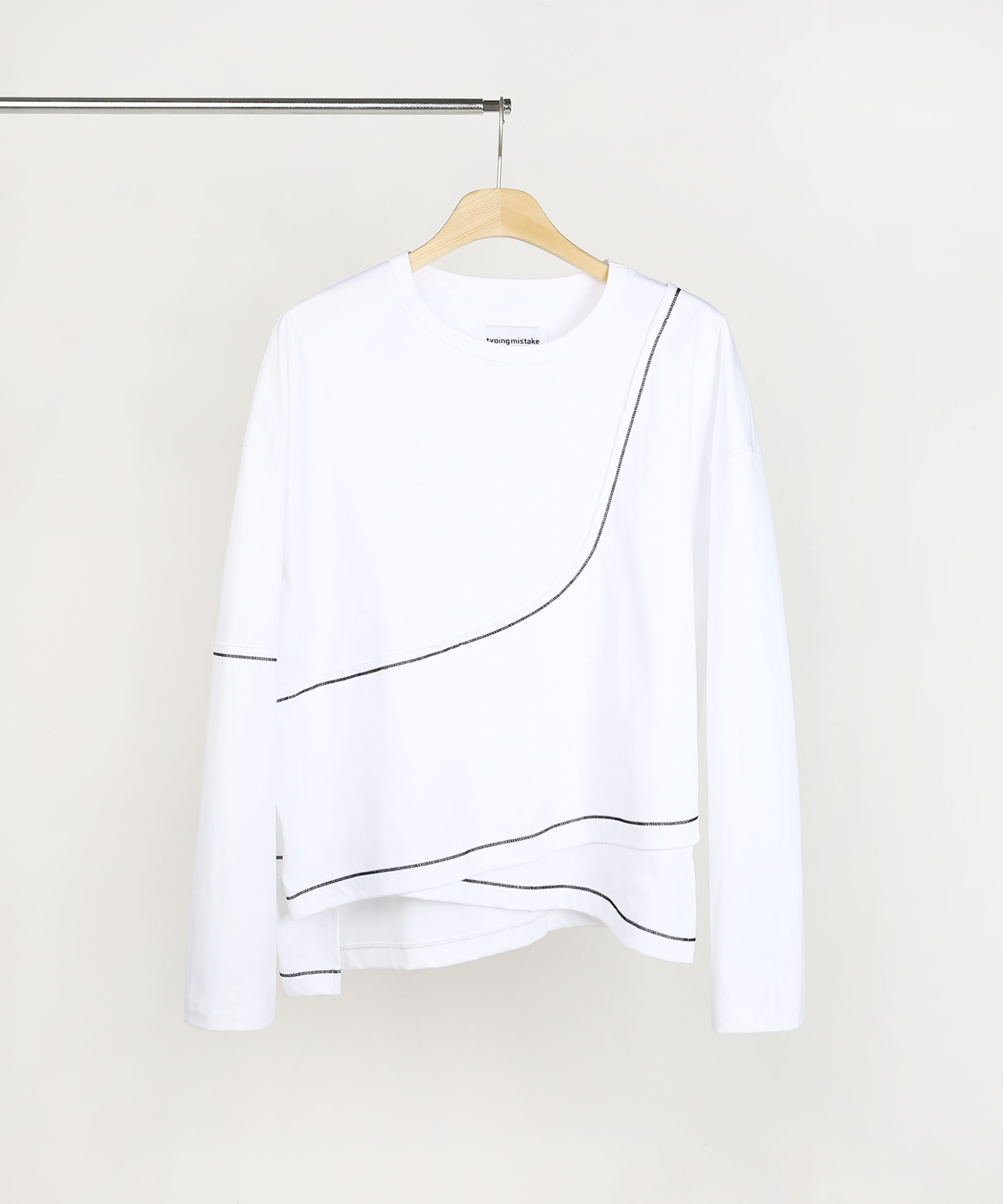 ASYMMETRIC LAYER SWEAT SHIRTS WHITE