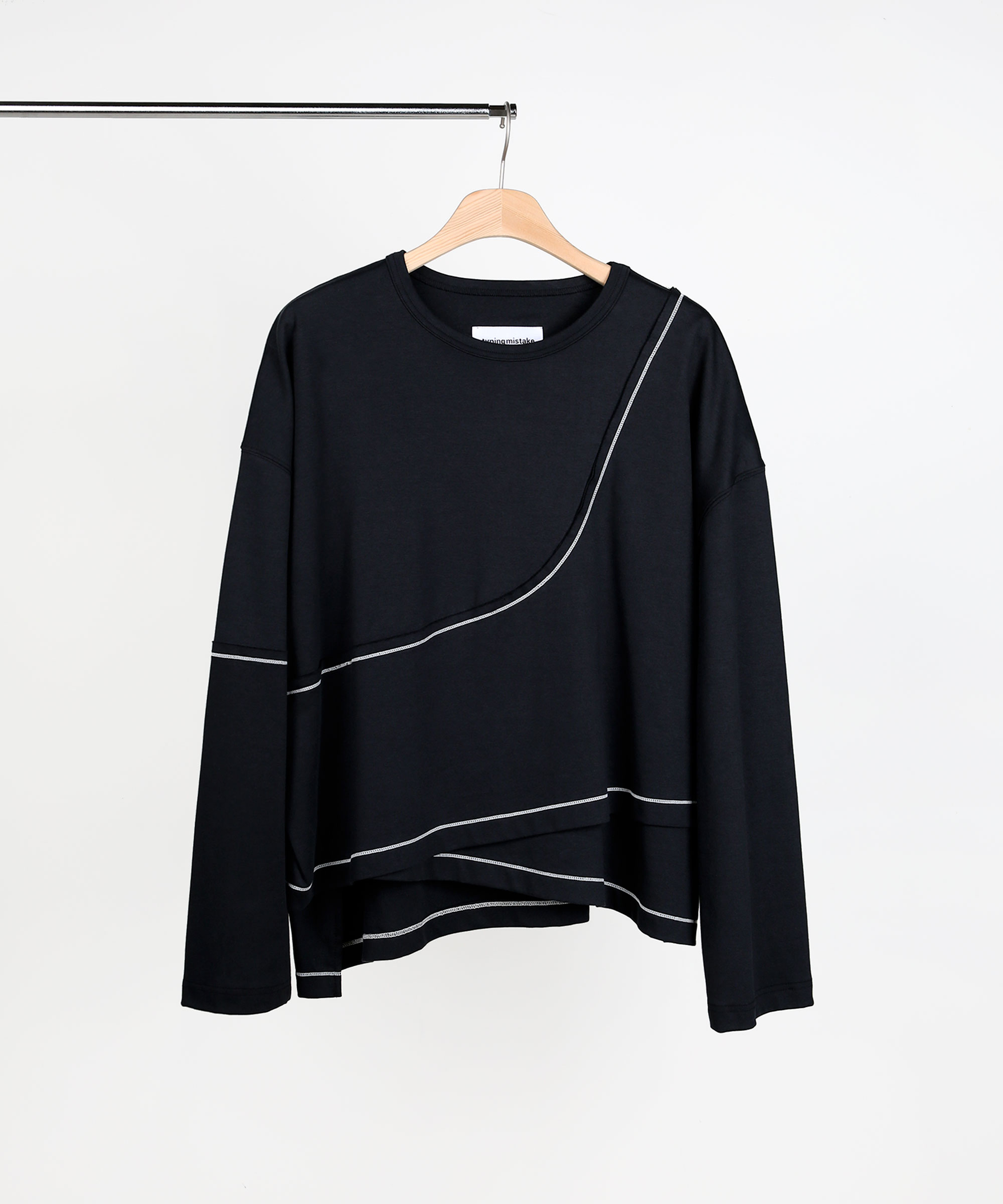 ASYMMETRIC LAYER SWEAT SHIRTS BLACK