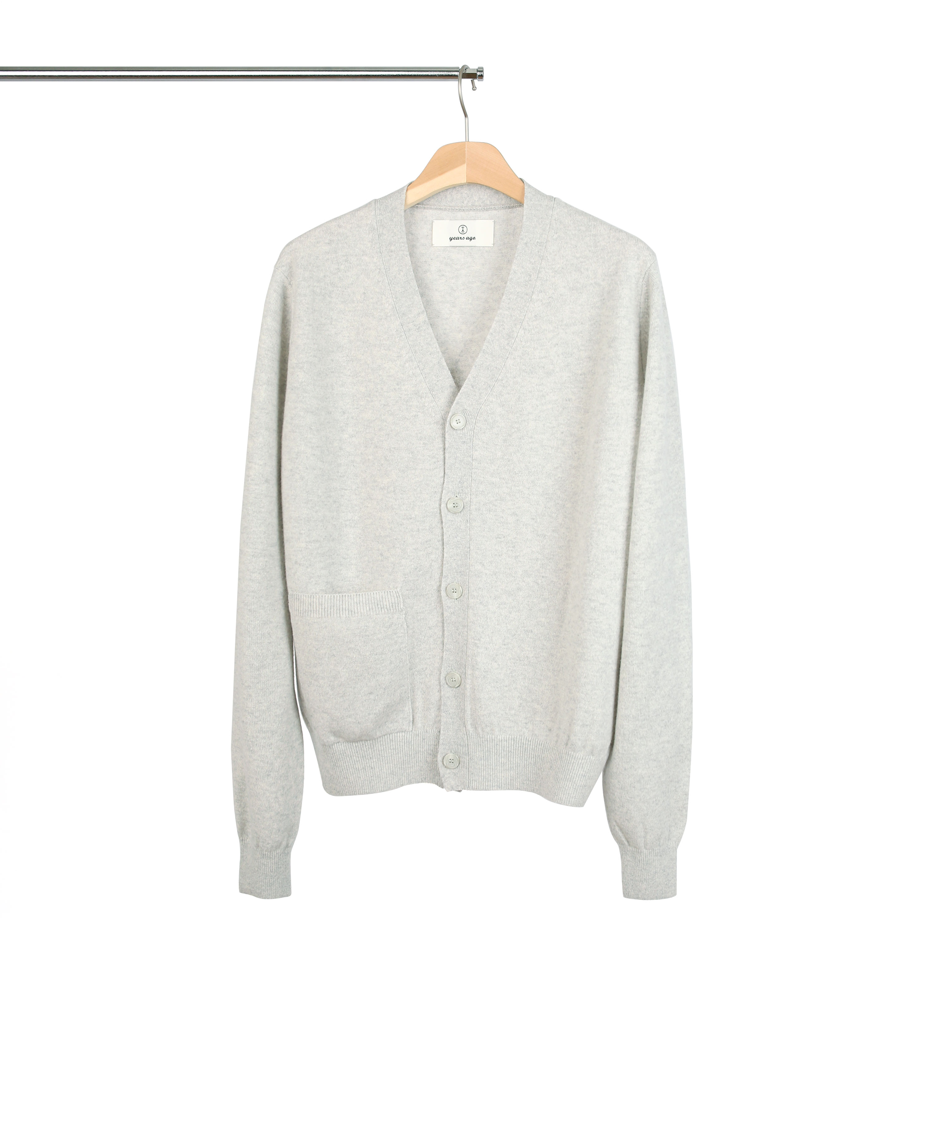 LIGHT MELANGE GREY ROVER WOOL CARDIGAN 02