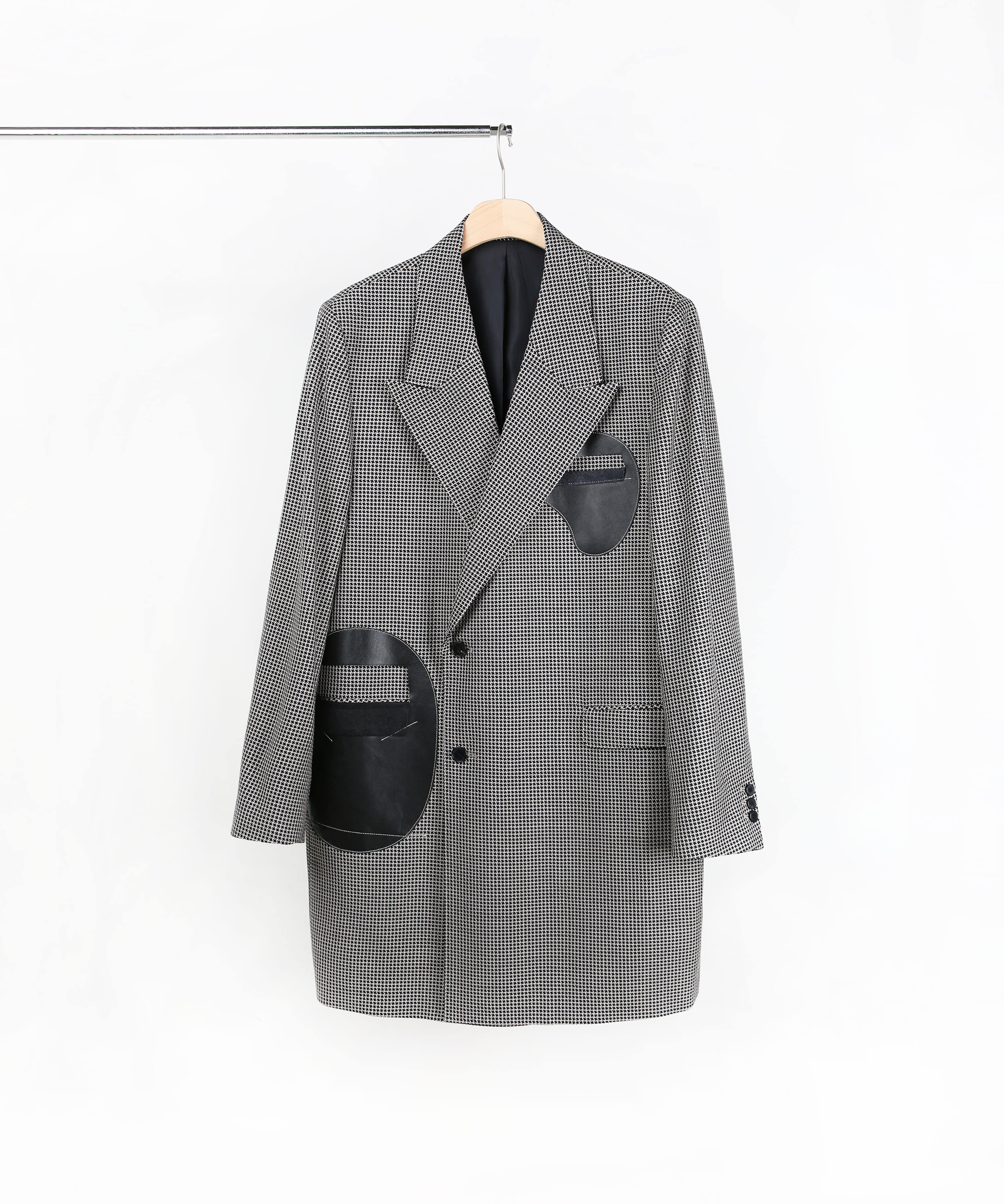 LEATHER PATCH TAILORED COAT HOUND TOOTH
