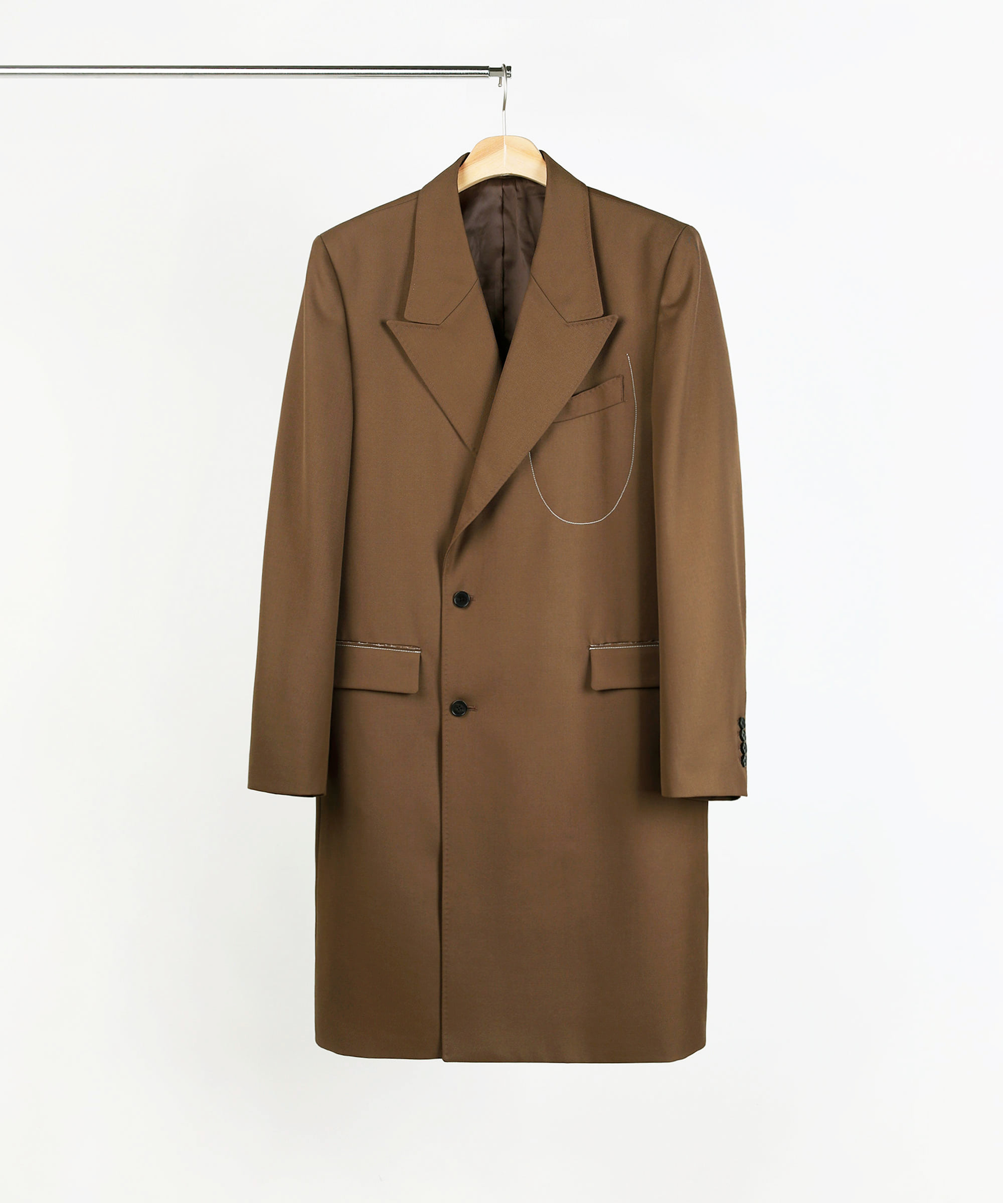 WINE BOTTLE DOUBLE BREASTED TAILORED COAT BROWN