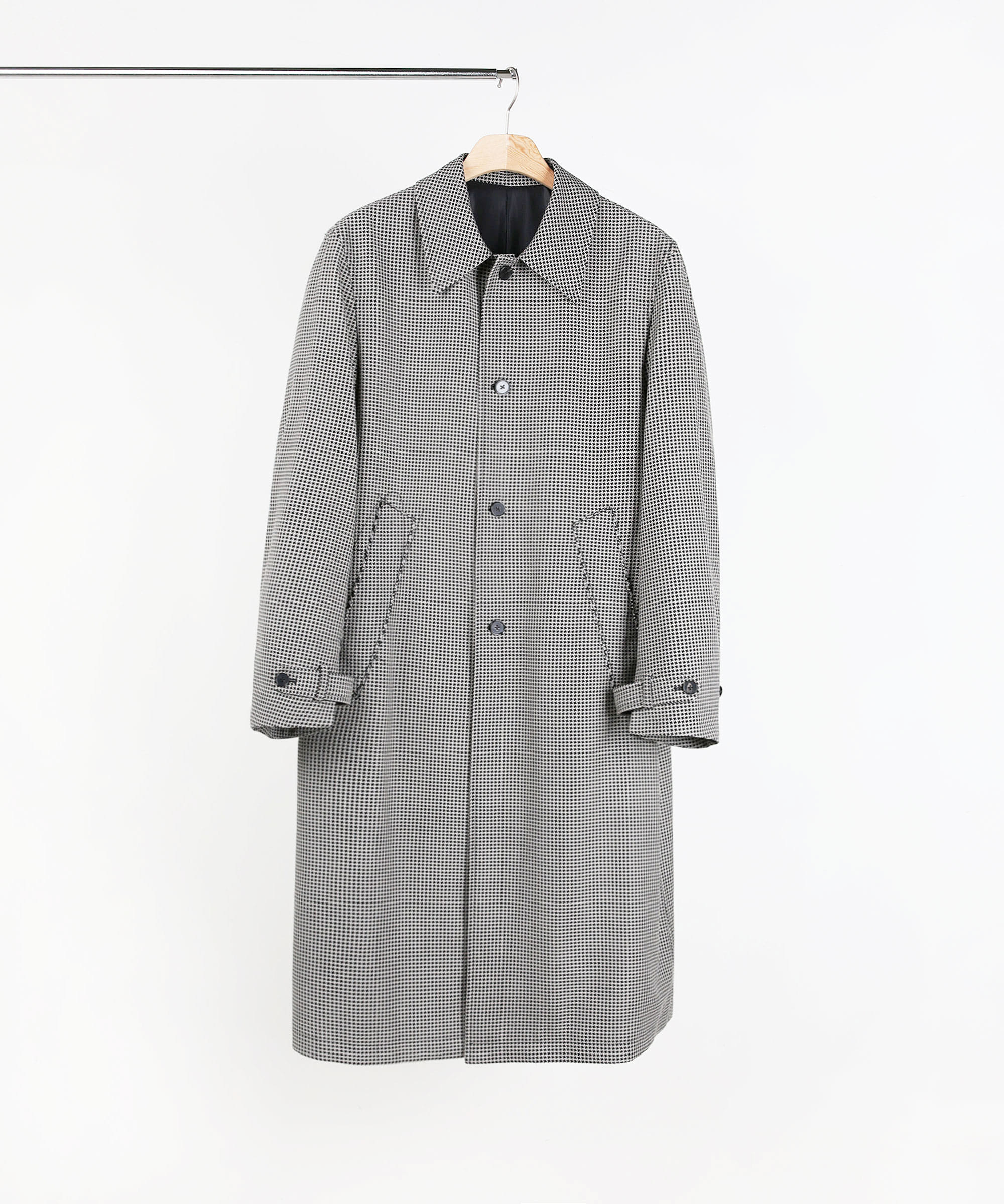 OPEN FINGER STITCH MAC COAT HOUND TOOTH CHECK