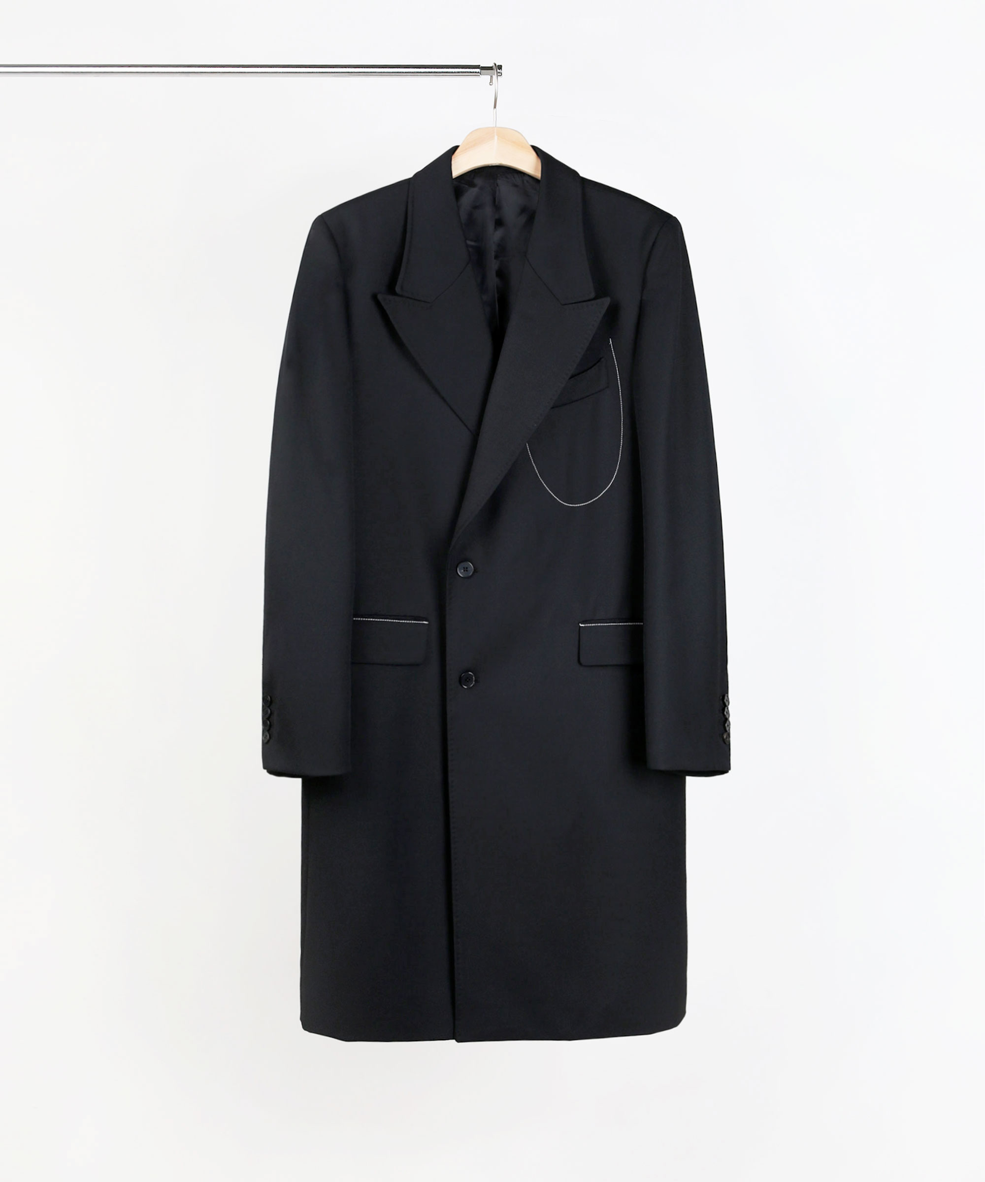 WINE & GLASS DOUBLE BREASTED TAILORED COAT BLACK